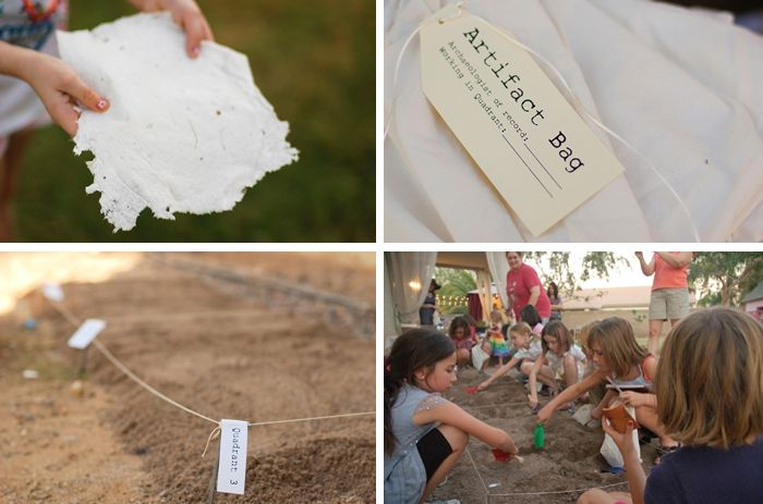 archeology dig as a kids party activity