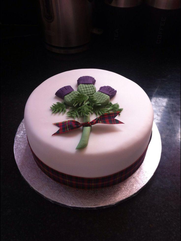 Tartan And Thistle Wedding Cake