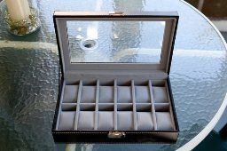 Amazon.com - Watch Box Large 12 Mens Black Leather Display Glass Top Jewelry Case Organizer - Watch Cases For Men