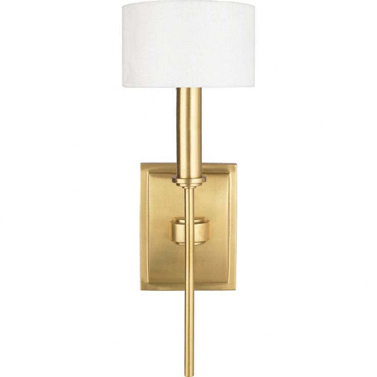 natural brass wall sconce with linen shade - Bathroom Wall Sconces