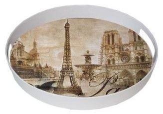 Ultraform Yuvarlak Tepsi Paris Desen