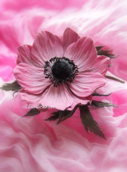"""Брошь из кожи анемон """"Rose"""" - розовый,анемоны,анемон,брошь-цветок,брошь из кожи:"""