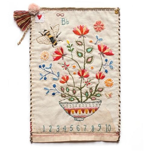 bumble bee embroidery sampler   http://catherinecampbell.bigcartel.com