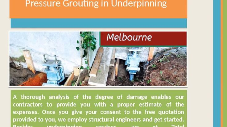 #TotalUnderpinning is an epitome of trust and quality. Our team members are highly skilled and trained in working on a wide range of underpinning projects to provide a strong foundation to your den. We believe that even the best of the interiors cannot give you peace of mind, until and unless your home has a strong foundation. For More... http://totalunderpinning.com.au/