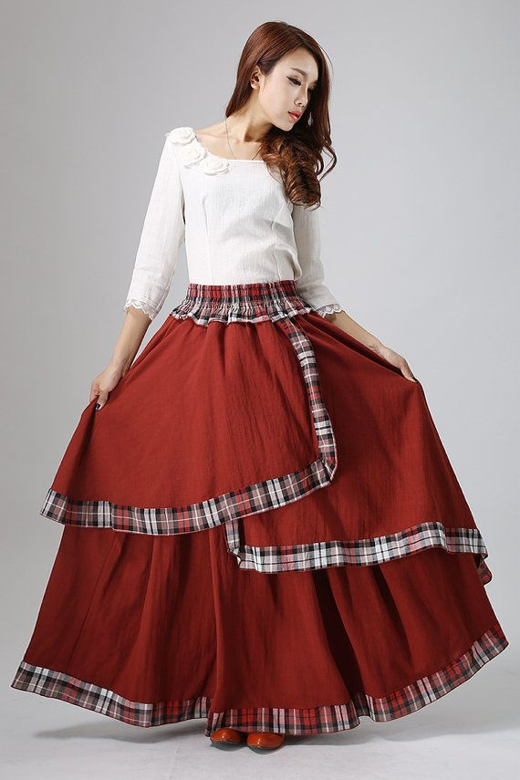 Maxi skirt plaid skirt women's linen skirt in darker by xiaolizi