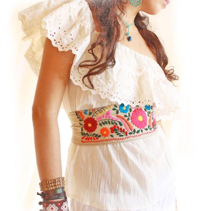 Handmade Mexican embroidered dresses and vintage treasures from Aida Coronado off shoulder vintage Mexican embroidered blouse A heart in every piece