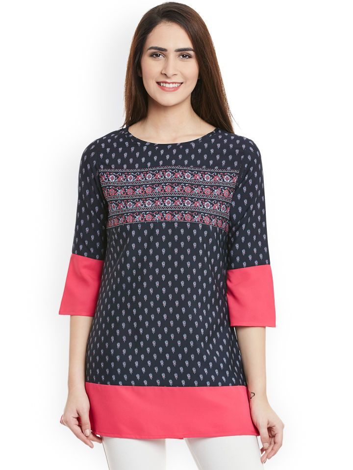 b1a5a1ddcd7 Buy Ruhaans Navy & Pink Printed Top - Tops for Women 1774466   Myntra