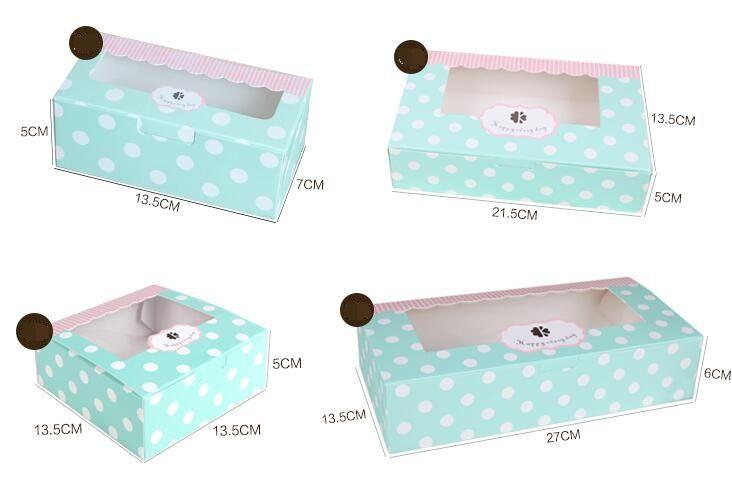 Modrá bodka / hnedá Cookie Package Vlnité Kraft Cake Box s PVC okná čokoládovú tortu muffin sušienky balenia darčekovej krabičke lacného