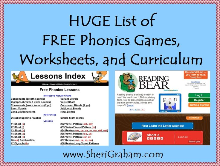 A List of FREE Phonics Games, Worksheets, and Curriculum | Sheri Graham