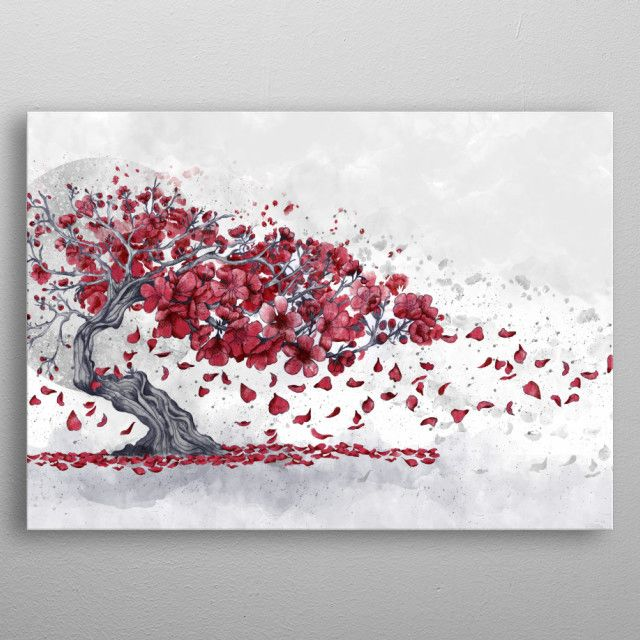 Cherry Blossom Poster By Marine Loup Displate Cherry Blossom Tree Tattoo Blossom Tree Tattoo Bonsai Tree Tattoos