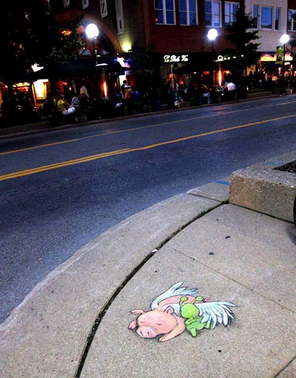 Best Side Walk Art Images On Pinterest David Zinn Street - David zinns 3d chalk art adorably creative