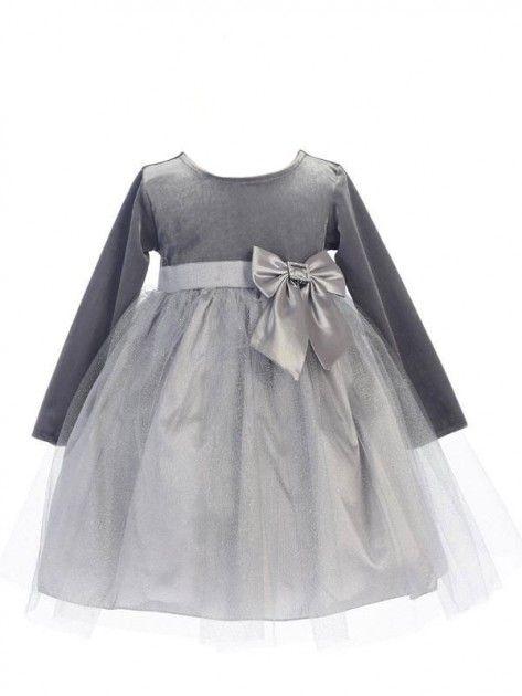 Tyllkjole med fløyelstopp og glitterskjørt, sølv | DressMyKid.no - Barn og baby - Alltid gode tilbud