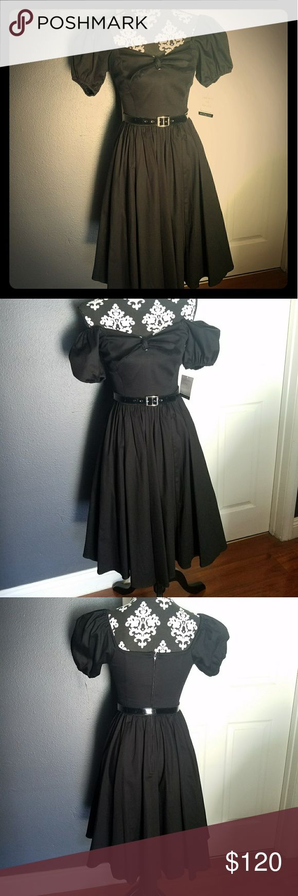 Vixen Swing Dress in Raven Black by Micheline Pitt New, never worn. Only tried on once. May be worn on or off shoulders. See photos above for details.  Website recommends sizing up if you are between sizes for a more relaxed fit. Vixen by Micheline Pitt Dresses Midi