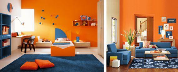 комнаты оранжево-синих тонах