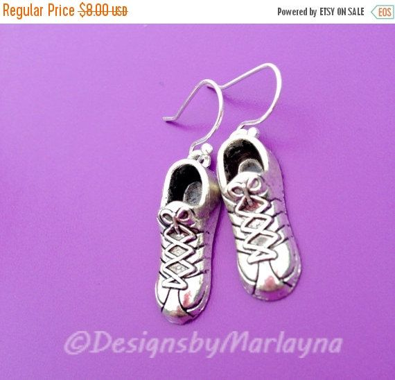 Tennis Shoe Earrings, Silver Earrings, 5k, 10k, Half Marathon, Running Jewelry, Sneakers, Gifts for Runner, active Jewelry, Weight Loss
