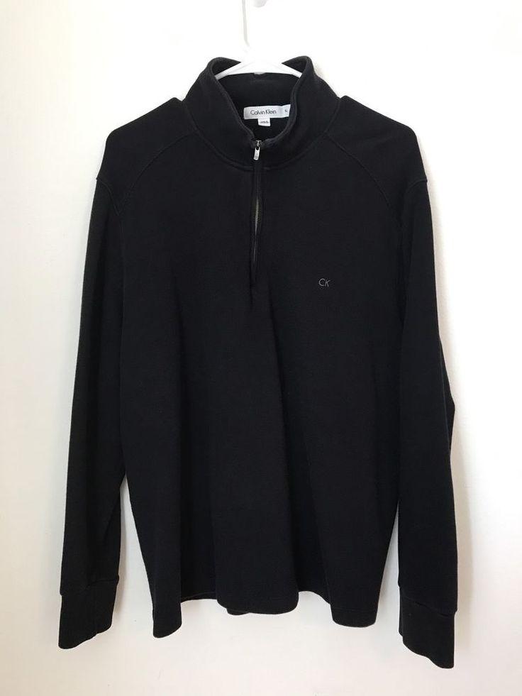 Mens CALVIN KLEIN Half-Zip Pullover Sweatshirt Shirt XL Cotton Rugby Sweater Top #CalvinKlein #12Zip