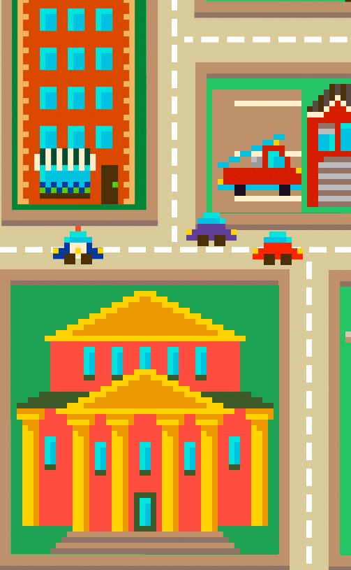 """Another """"create your own world"""" similar idea: build you city in pixel art. For example, look this mobile game: https://play.google.com/store/apps/details?id=com.chillingo.pixelpeople.android.rowgplay"""