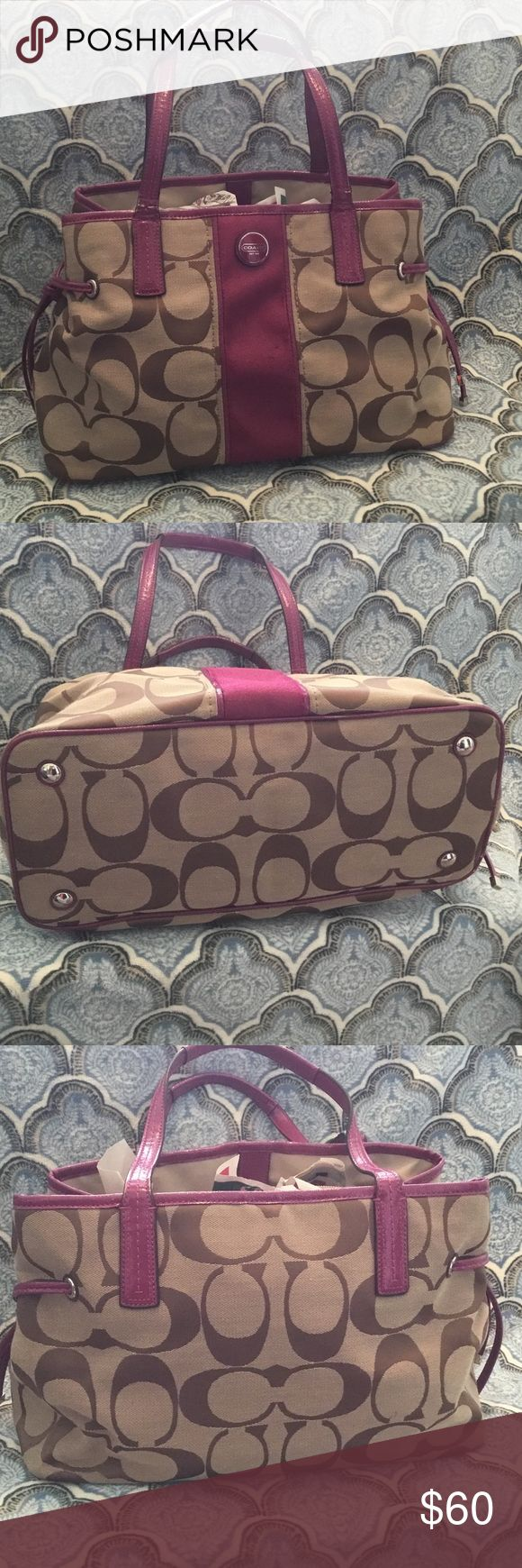 Large Coach shoulder bag Large tan and pink Coach shoulder bag. In awesome condition! Contains two zippered pockets and spots for your phone and wallet. Magnetic clasps to close! Super cute for spring! Coach Bags Shoulder Bags