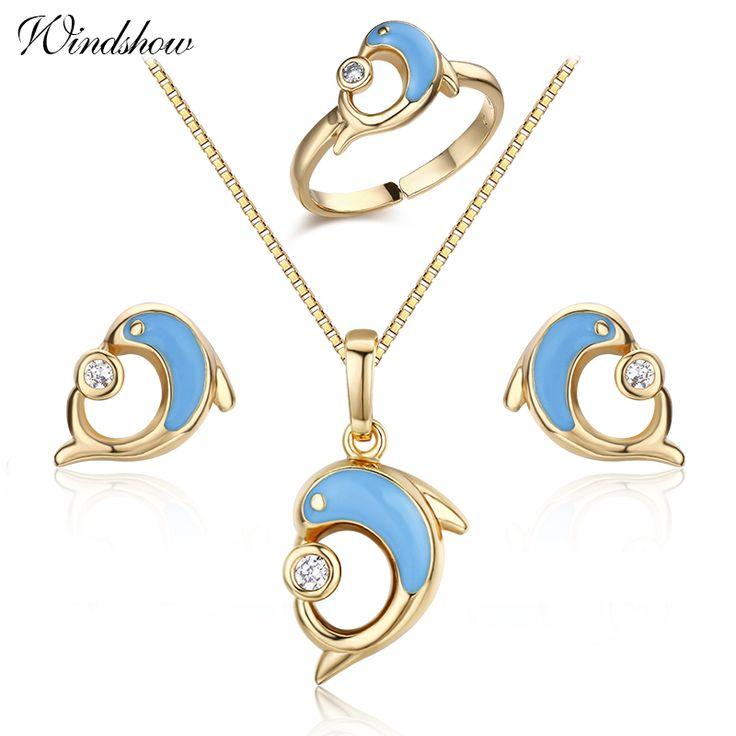 Goud Kleur Blauw Dolfijn Spelen CZ Bal Oorbellen Ring hanger Ketting Dier Kleine Sieraden Sets Voor Vrouwen Kinderen Kids meisjes(China (Mainland))