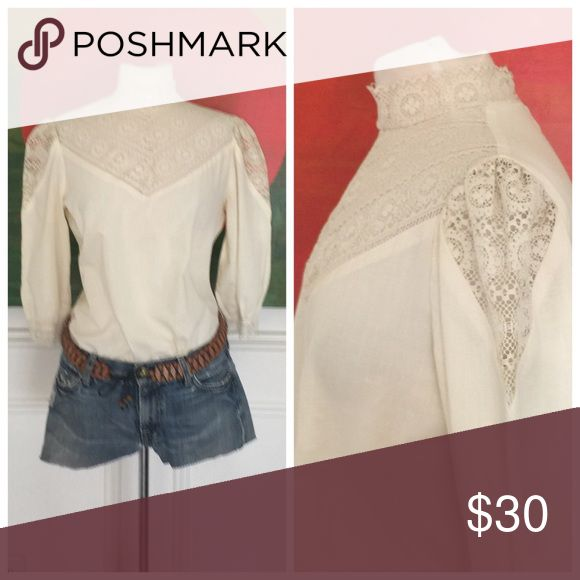 """Awesome VINTAGE crochet Boho festival Blouse top Wow! Just so sweet and sexy! Wear all year round. Excellent condition. Made of cotton. Shown on size 4 mannequin. Best on 2/4/6  Bust 38"""" Length 23"""" Vintage Tops Blouses"""