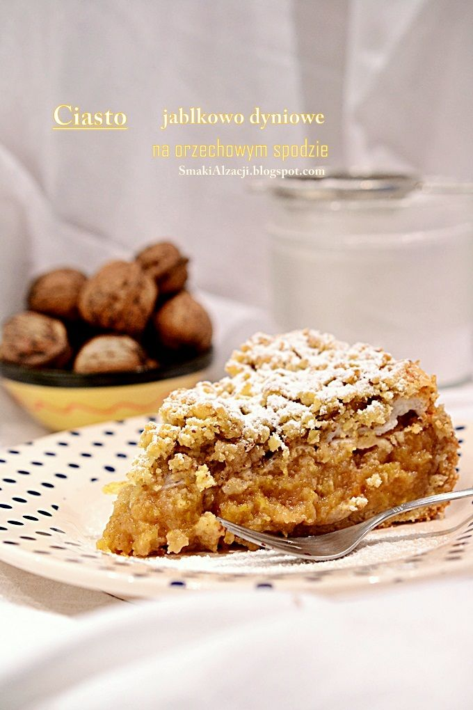 ciasto jabłkowo-dyniowe na orzechowym spodzie