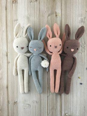Amigurumi-konijnen als knuffels of decoratie voor Pasen. Geeft op Etsy.  – Baby