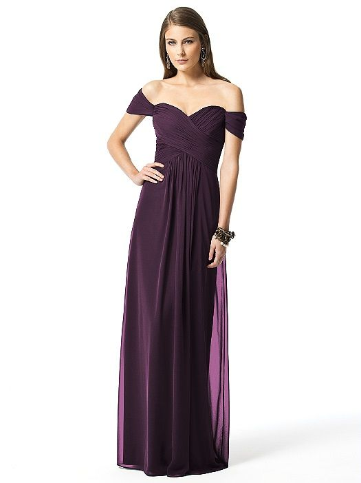 Plum Eggplant Bridesmaid Dress Off The Shoulder Dessy Collection Style 2844 Dessy