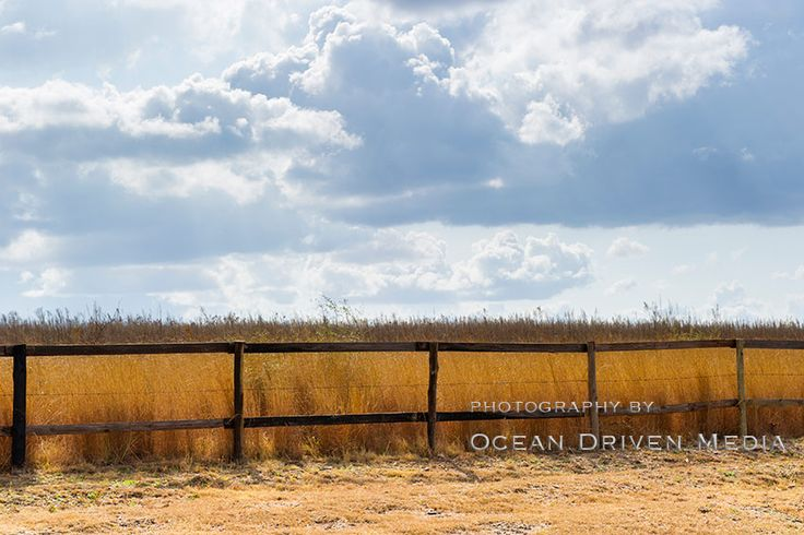 A wooden fence, dry grass and stormy clouds in background