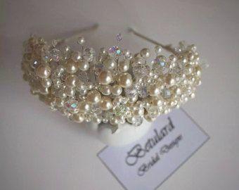Perlas de Marfil hecho a mano & AB Cyrstal nupcial Tiara