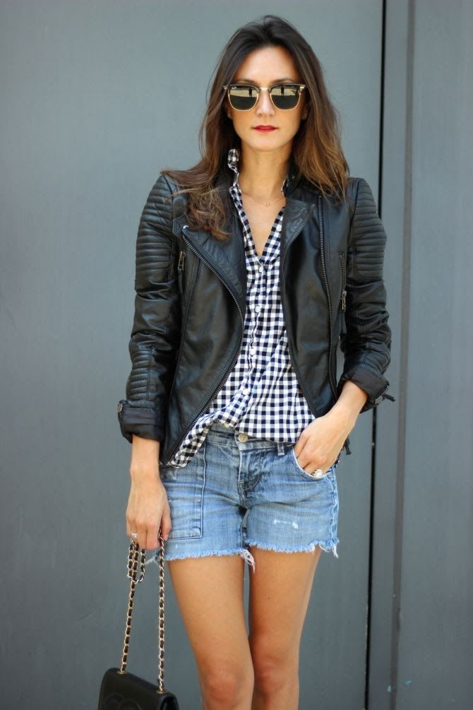 balance gingham with a moto jacket