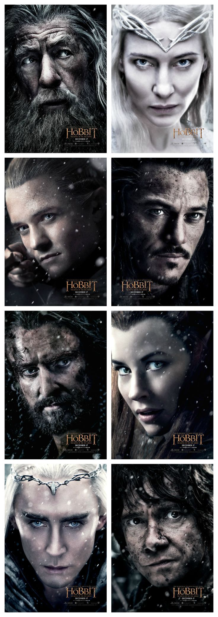 The complete set of The Hobbit: the Battle of the Five Armies character posters.