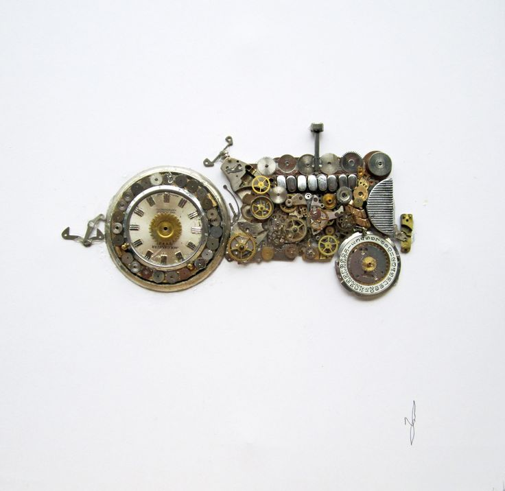 Tractor picture made from old watch parts