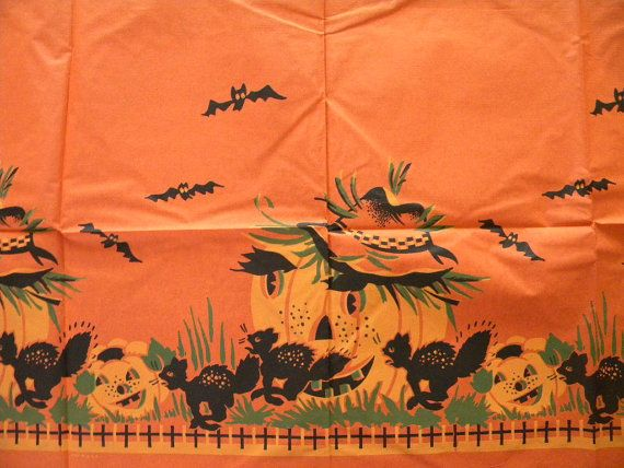 Vintage Halloween Tablecloth and 8 Napkins by SongbirdSalvation
