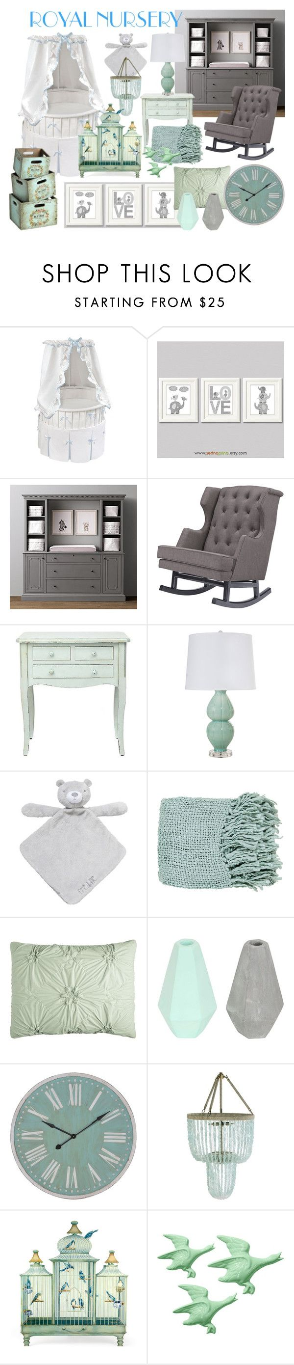 Royal Nursery - Dreams by stylebycharlene on Polyvore featuring interior, interiors, interior design, home, home decor, interior decorating, Nursery Works, Worlds Away, Ro Sham Beaux and Pier 1 Imports