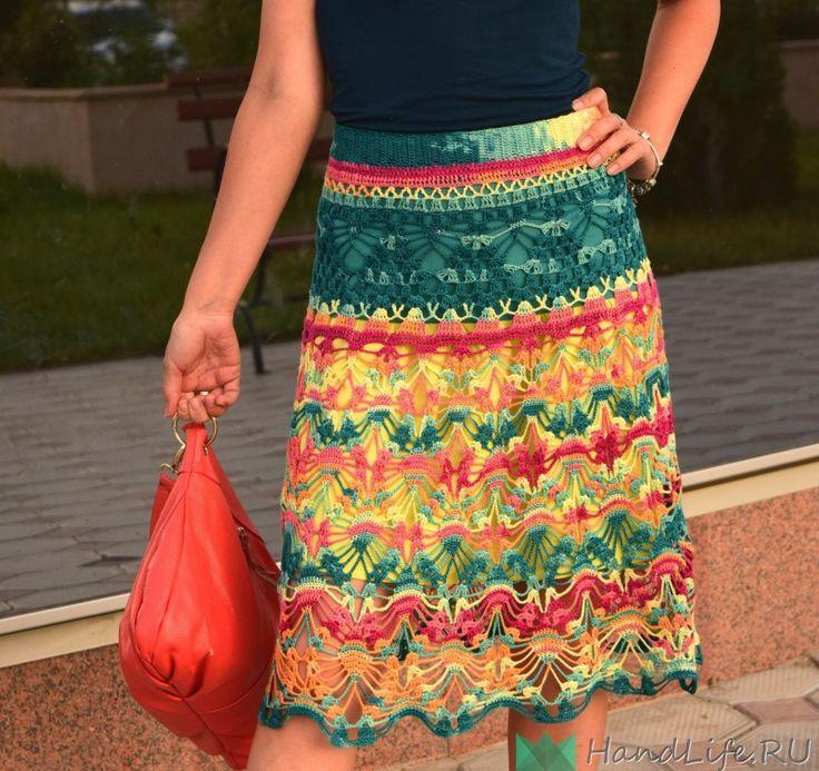 Crochet de falda multicolor de verano / Crochet