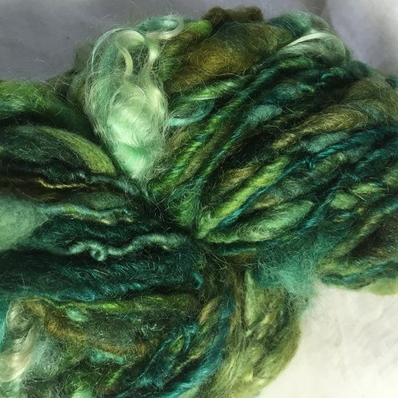 Green Mix English Leicester merino and mohair  by hawthornecottage