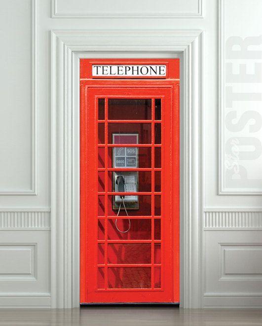 "Door wall sticker London Telephone Box self-adhesive poster, mural, decole, film 30x79"" (77x200 cm)"