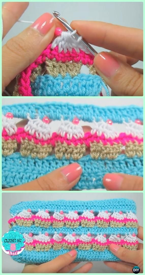 Crochet Cupcake Purse Free Pattern [Video] | This stitch pattern looks like a row of cupcakes!