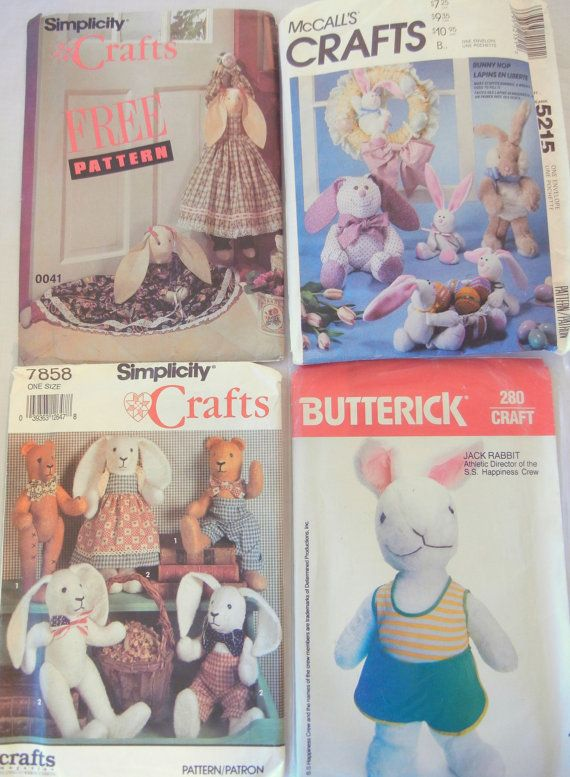 Stuffed Bunny Rabbit Sewing Patterns Lot of 4 or Choose Your Own, Easter Basket Toys and Favors, Early 90s by CandyAppleCrafts $5 ea./$15 for all