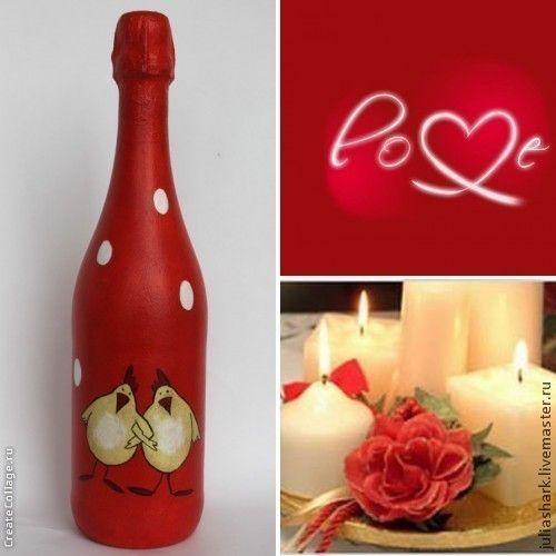 Купить Праздничный декор бутылки! - ярко-красный, годовщина свадьбы, бутылка декупаж, бутылка декоративная