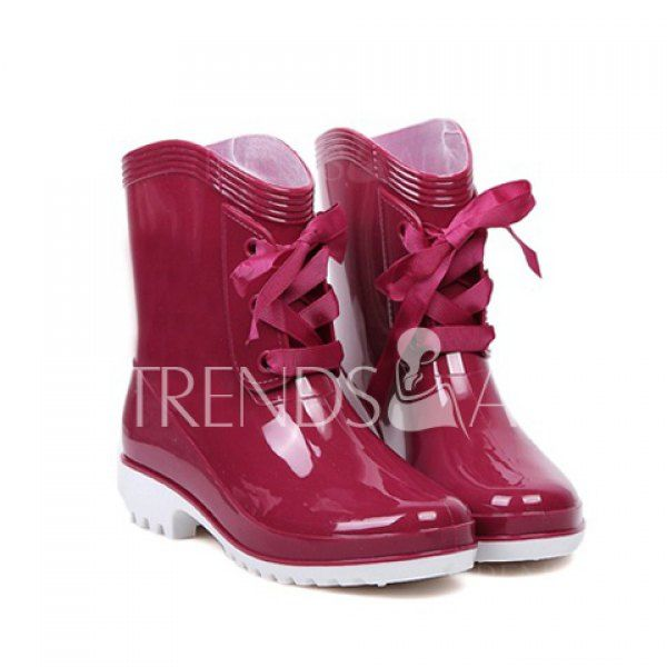 Wholesale Stylsih Solid Color and Lace-Up Design Women's Rain Boots Only $9.09 Drop Shipping | TrendsGal.com