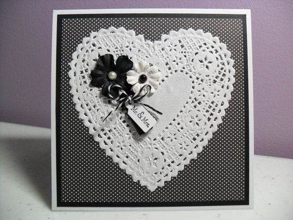 Handmade Wedding Card  Doily Heart Card by GGgreetings on Etsy, $3.50