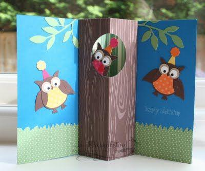 SU Owl Birthday Cylindrical Pop-Up Card - open