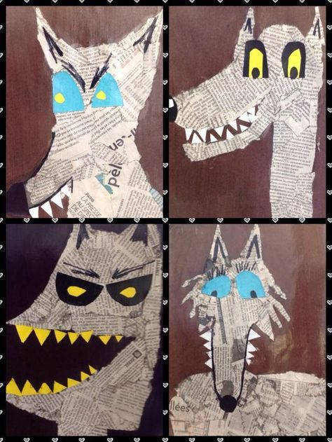Big bad wolf project | newsprint collage | fairytales | Halloween art projects