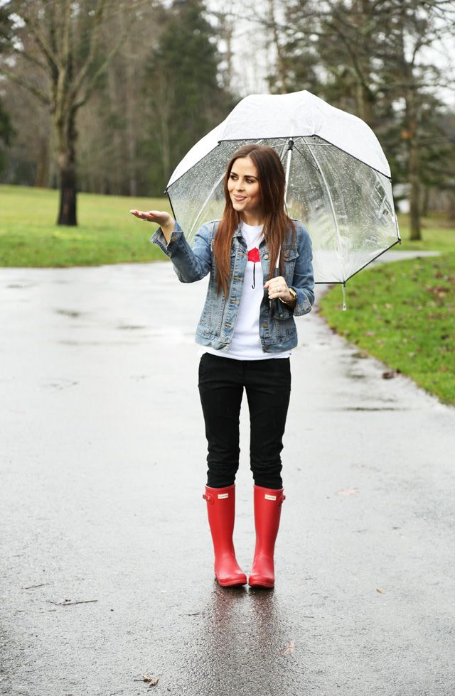 rainy day look. red hunter rain boots