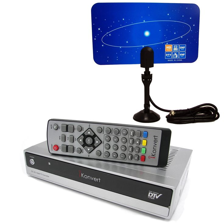 Hd Hdtv Dtv Digital to Analog Converter Box and Flat Digital Indoor Tv Antenna Combo Package