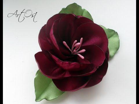 ✿Пышный цветок из лент своими руками. ЭТО ПРОСТО ✿ - YouTube