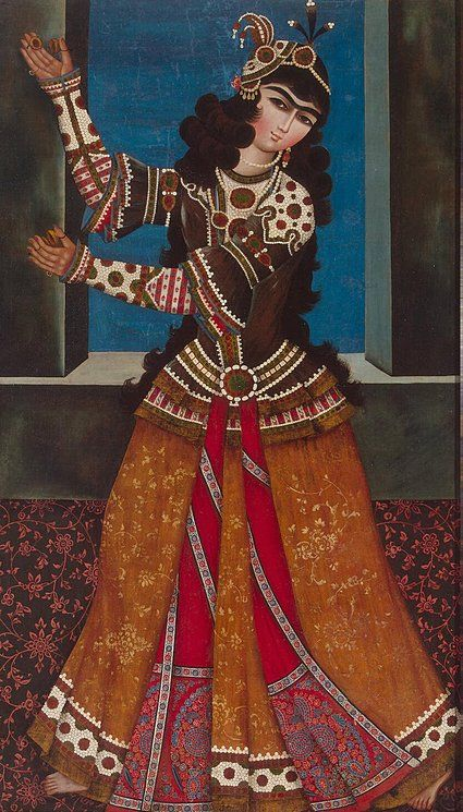 Dancing Girl with Castanets  Origin: Iran, First quarter of the 19th century, Qajar Dynasty
