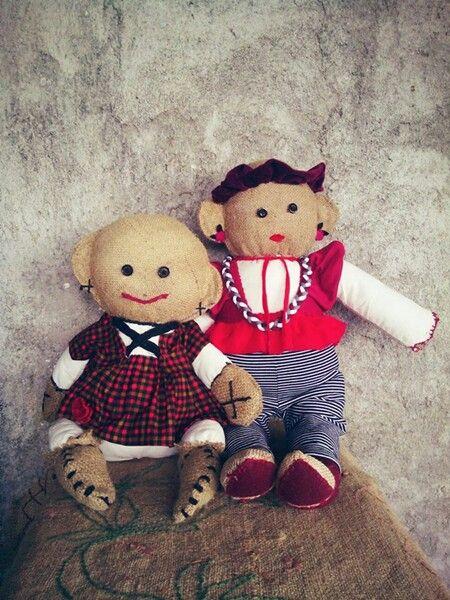 KUKUN & Gina  #burlap #ragdoll #doll #rag #primitivedoll