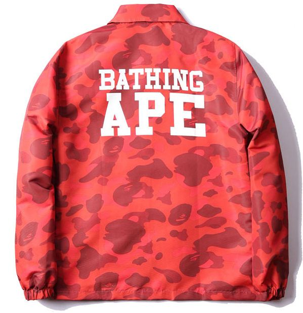 Act fast! Purple one is out of stock now. A Bathing Ape BAPE Camo Coach Jacket. Colors: Red/Green/Purple  #bape #abathingape #camo #coach #jacket #streetwear #streetwearvilla #streetstyle #streetfashion